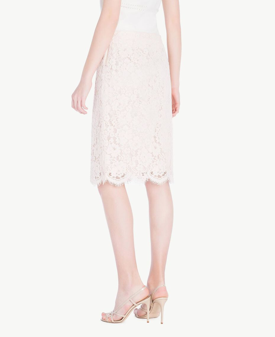 Mid-length lace skirt Pale Ecru Woman PS82XB-03