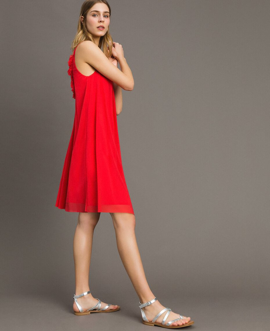 "Tulle dress with shoulder straps ""Framboise"" Red Woman 191LM2FCC-02"