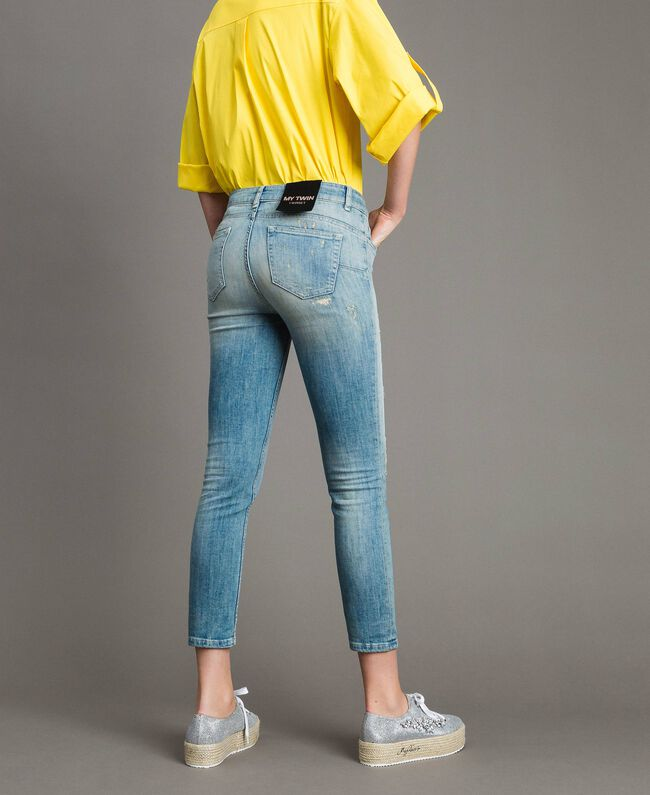 Skinny jeans with rips Denim Blue Woman 191MP2472-03