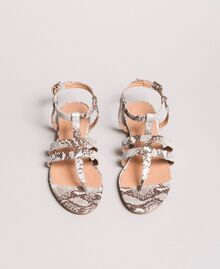 Animal print leather flat sandals Ice Python Print Woman 191TCP13A-03