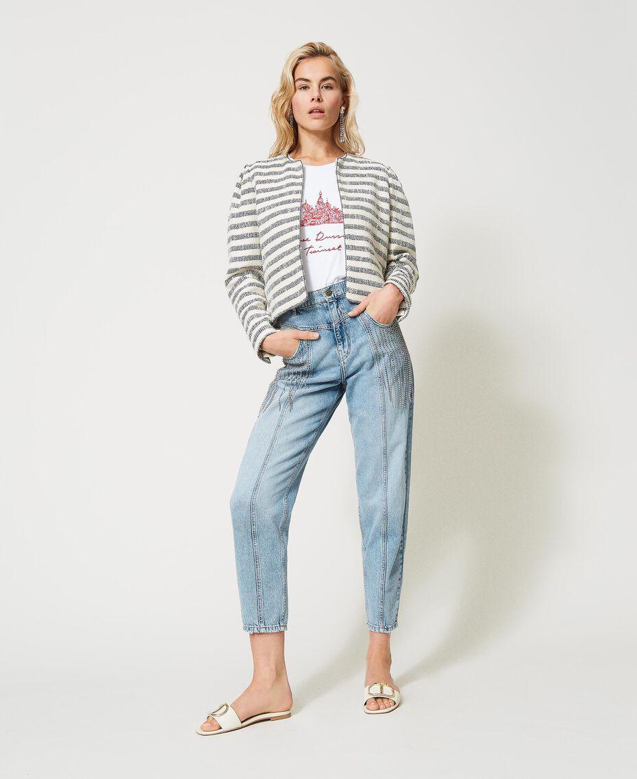 Jeans with bezel fringes Denim Woman 211TT2382-02