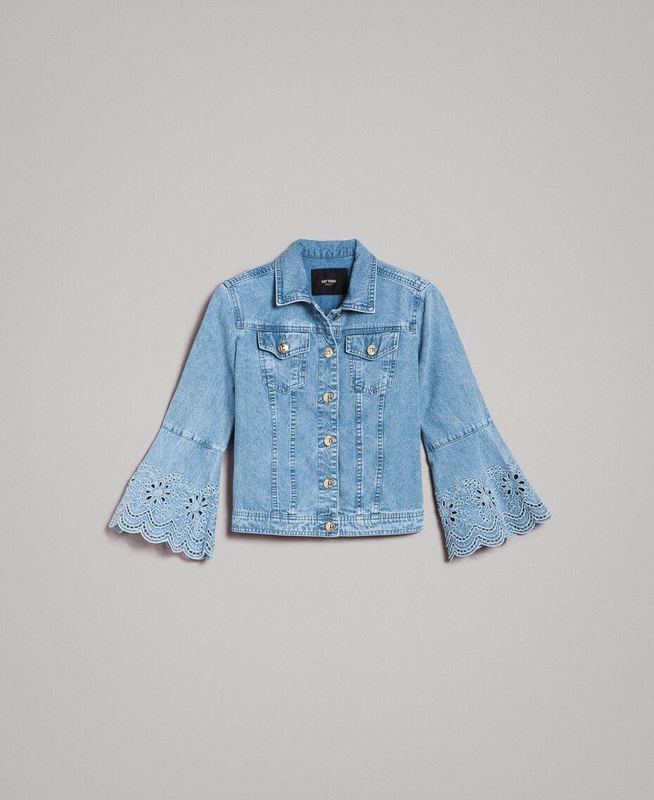 Blouson slim en jean avec broderie anglaise Bleu Denim Femme 191MP2430-0S