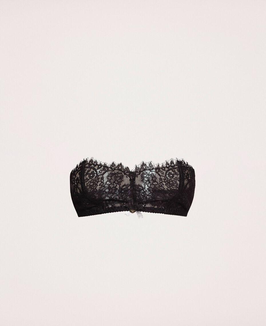 Soutien-gorge bandeau en dentelle et tulle Ivoire Femme 201LL6211-0S