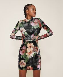 "Floral velvet sheath dress Black / ""Peach Pearl"" Floral Print Woman 202TT2361-02"
