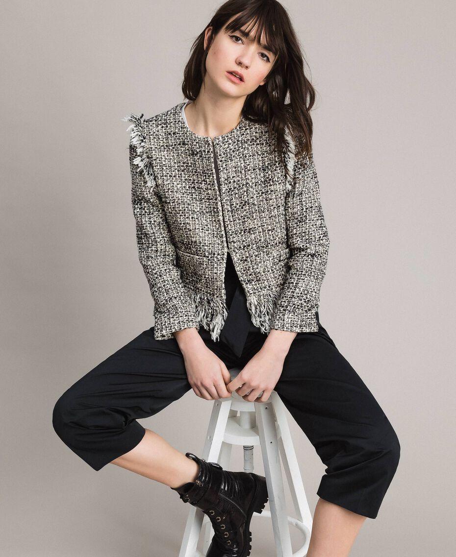 "Fringed tweed jacket Two-tone ""Snow"" White Bouclé / Black Woman 191TP2523-01"