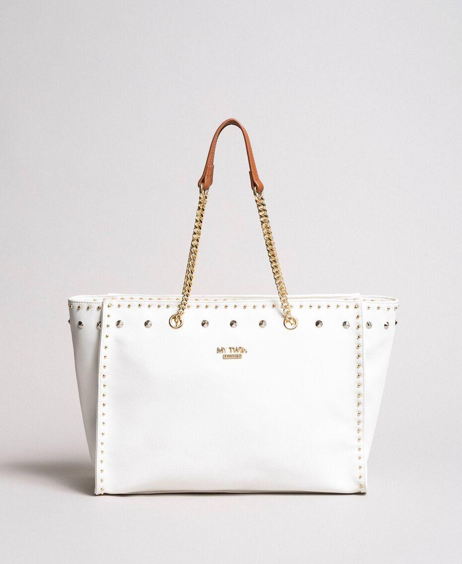 Shopper aus Lederimitat mit Nieten White Sahne Frau 191MA7143-02