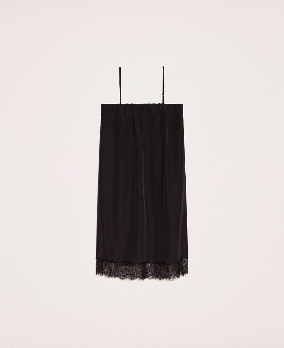 Robe nuisette avec dentelle Noir / Noir Femme 201MT2282-0S