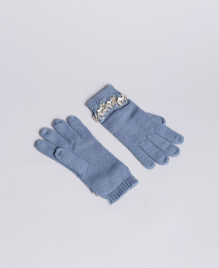 Gants en maille avec broderie et strass Bleue poudre Femme AA8P5H-01