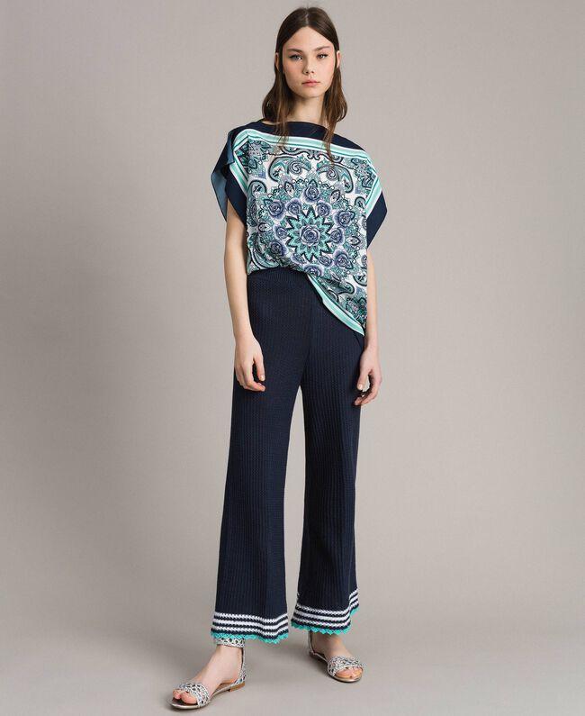 Blouse en crêpe de Chine à imprimé écharpe Imprimé Foulard Dressing Bleu Nuit Femme 191MT2122-0T