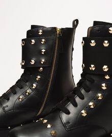 Кожаные ботинки-амфибии с заклепками Черный женщина 999TCP020-03