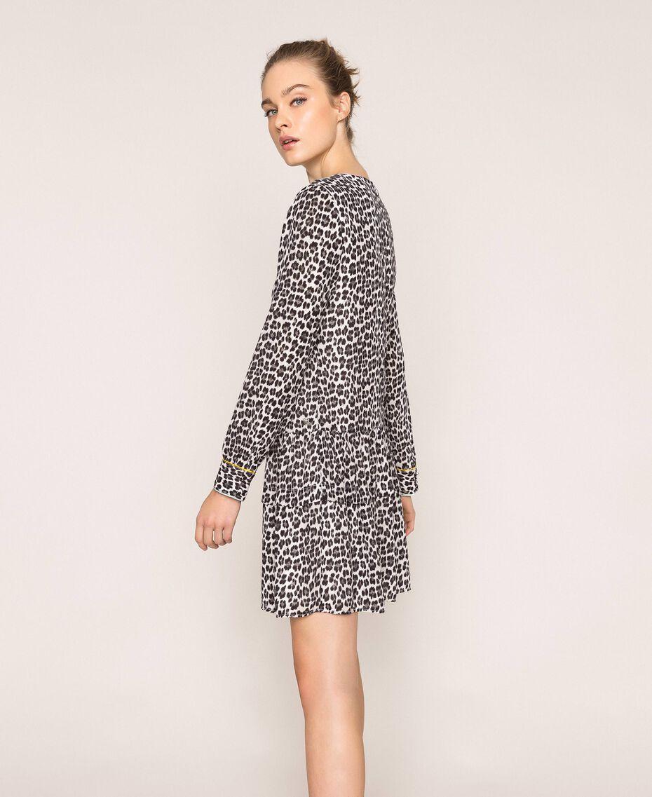 Платье из жоржета с животным принтом Принт Животный Лилия / Черный женщина 201MP2440-02