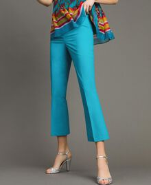 Poplin drainpipe trousers Tile Blue Woman 191TT2230-01