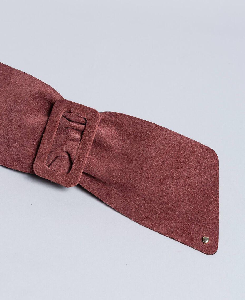 Breiter Taillengürtel aus Veloursleder Bordeaux Frau AA8P4E-02