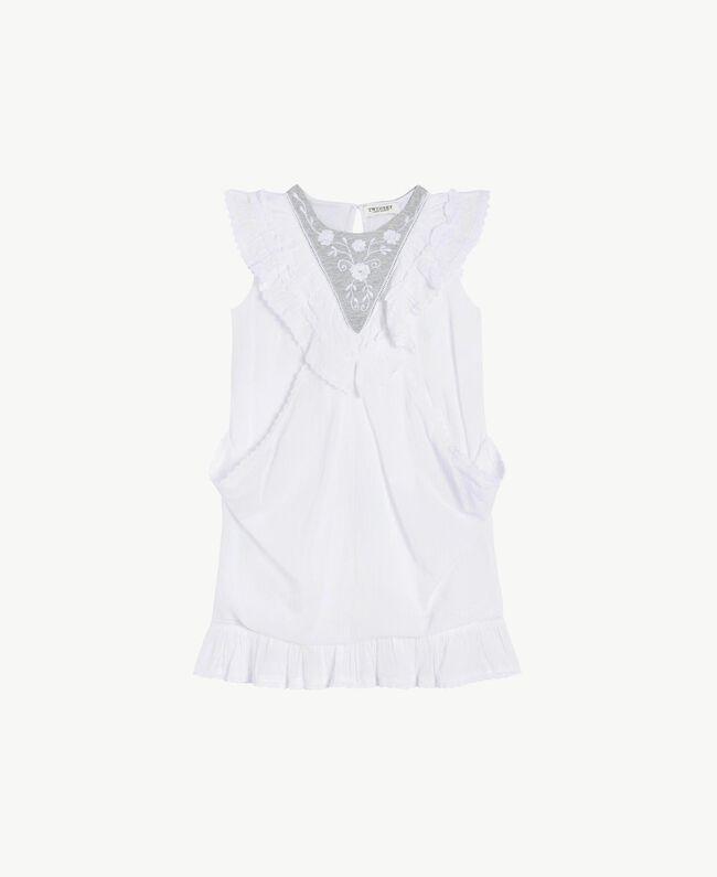 "Embroidered dress ""Papyrus"" White Jacquard Stripes / Light Melange Grey Child GS82LA-01"