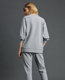 Sweatshirt with stone and pearl embroidery Melange Grey Woman 192LI2UGG-04
