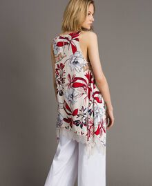 Floral print and lace crêpe top Exotic Ecru Print Woman 191ST2234-04