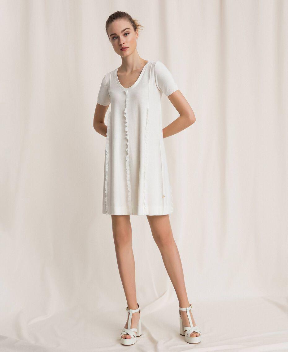 Платье с отстрочками и рюшами Белый женщина 201ST3066-02