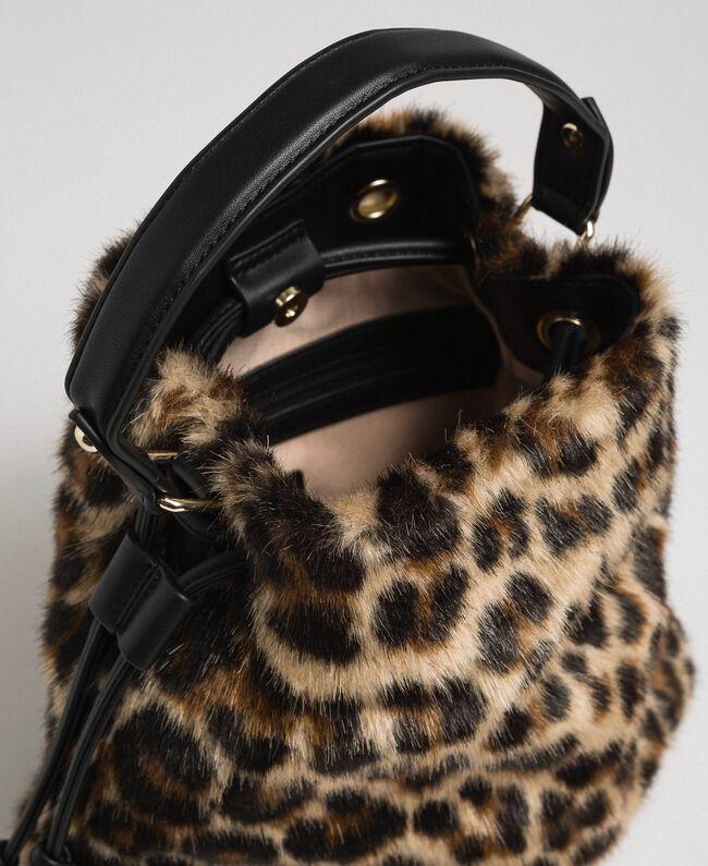 Borsa secchiello in similpelliccia animalier Animalier Donna 192MA7031-05