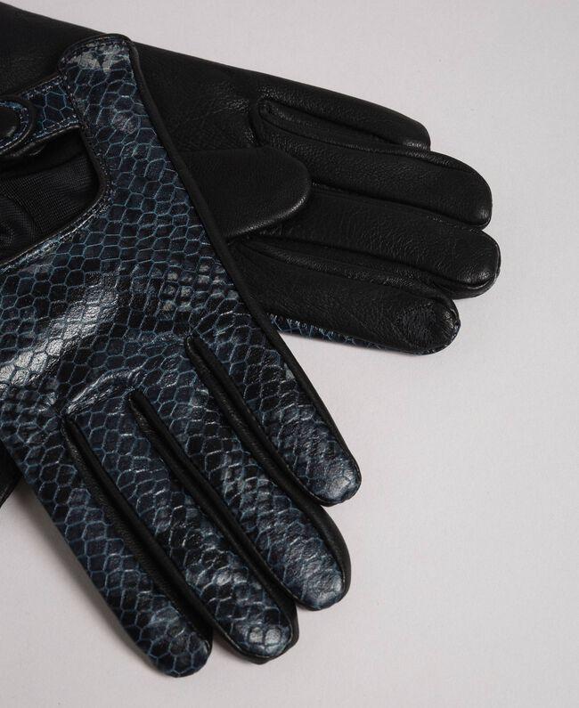 Touchscreen Handschuhe aus Leder mit Knopf Frau, Grau