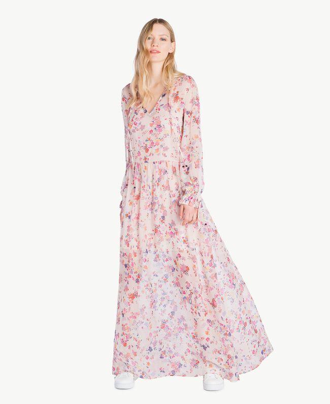 Robe longue imprimée Multicolore Fleurs Quartz Rose Femme JS82NQ-01