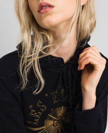 Oversize-Sweatshirt mit Print an der Vorderpartie Blütenknospenrosa Frau 192TT2130-04