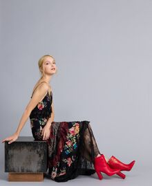 Leather ankle boots with cuff Poppy Red Woman CA8PLG-0S