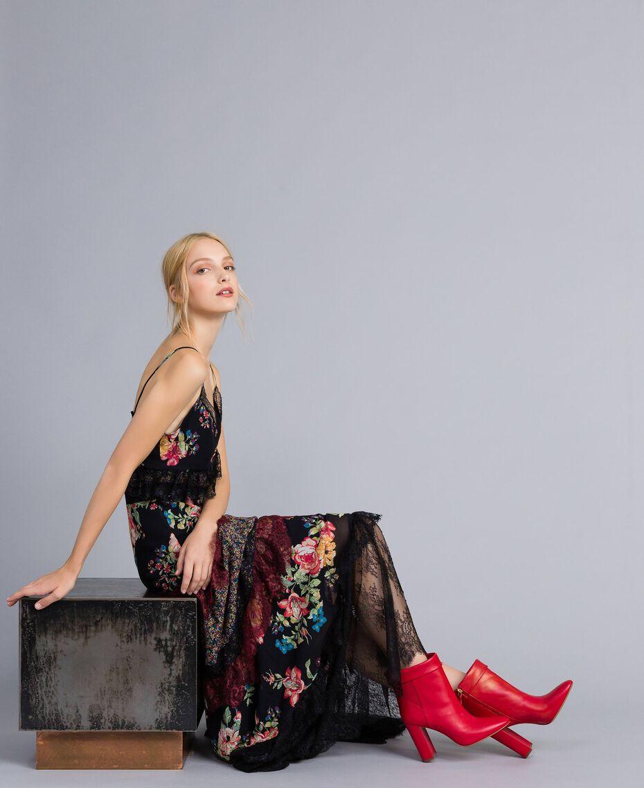 Bottines en cuir avec revers Rouge Coquelicot Femme CA8PLG-0S