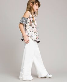 Floral viscose top with lace print Ramage Butterfly Print Child 191GJ2521-02