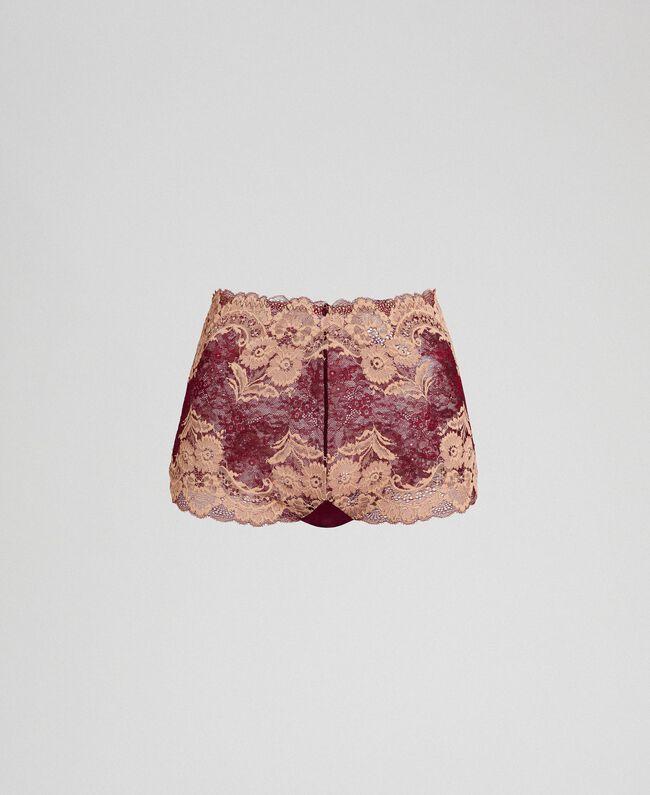Taillenslip aus zweifarbiger Spitze Purpurrot / Warmes Beige Frau 192LL6D99-0S