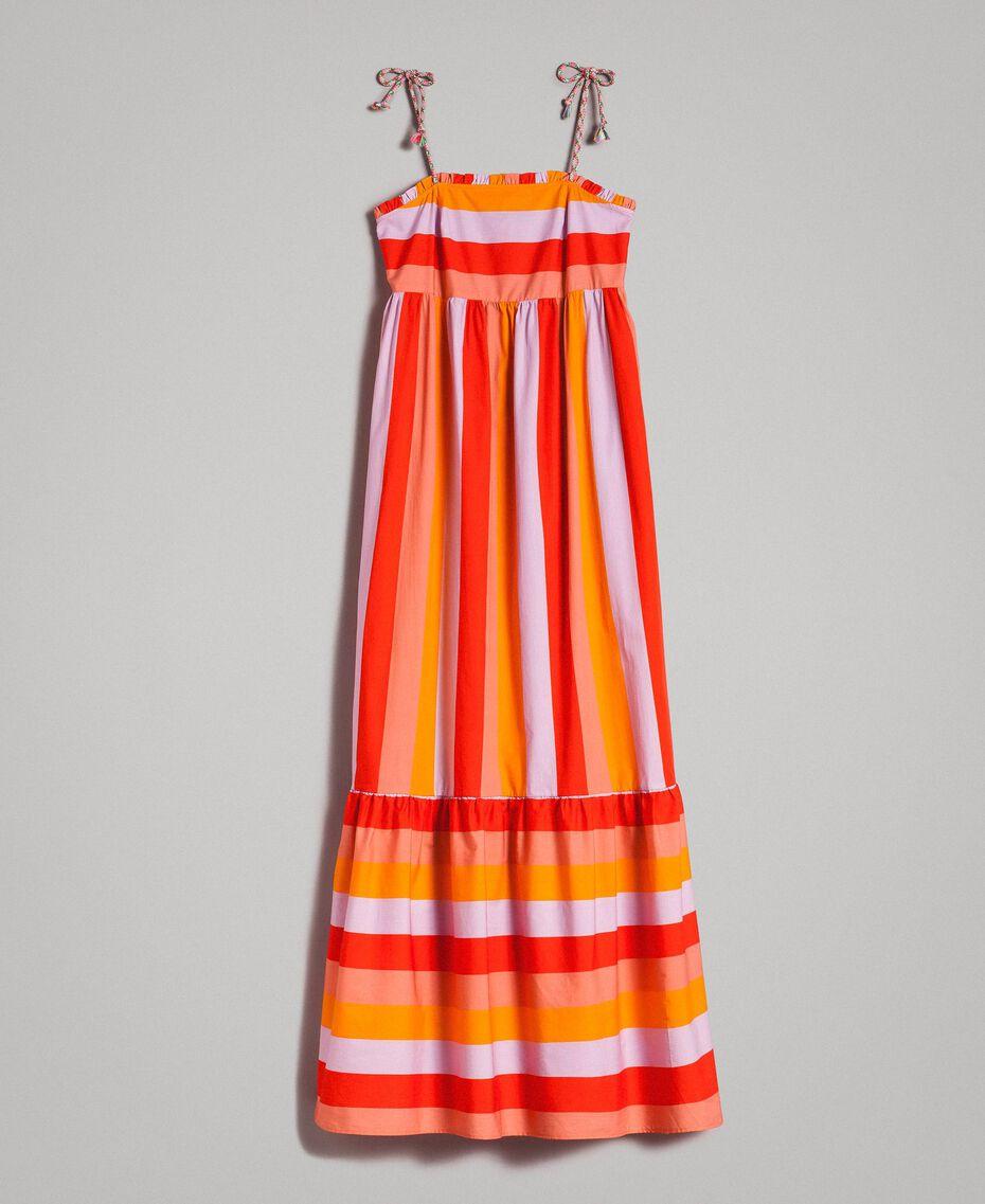 Robe longue en popeline à rayures multicolores Imprimé Multicolore Grenadine Femme 191TT2411-0S
