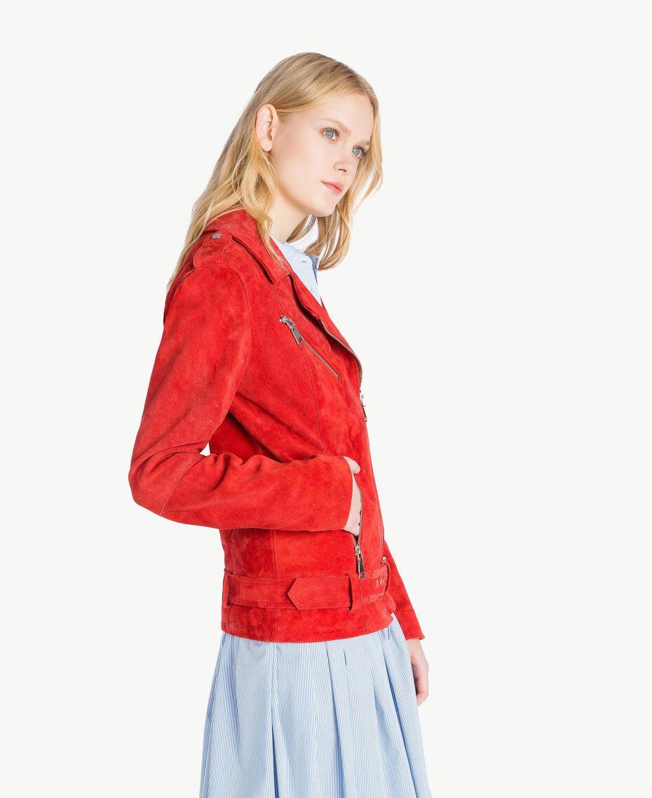 Suede biker jacket Vermilion Red Woman JS82AA-02