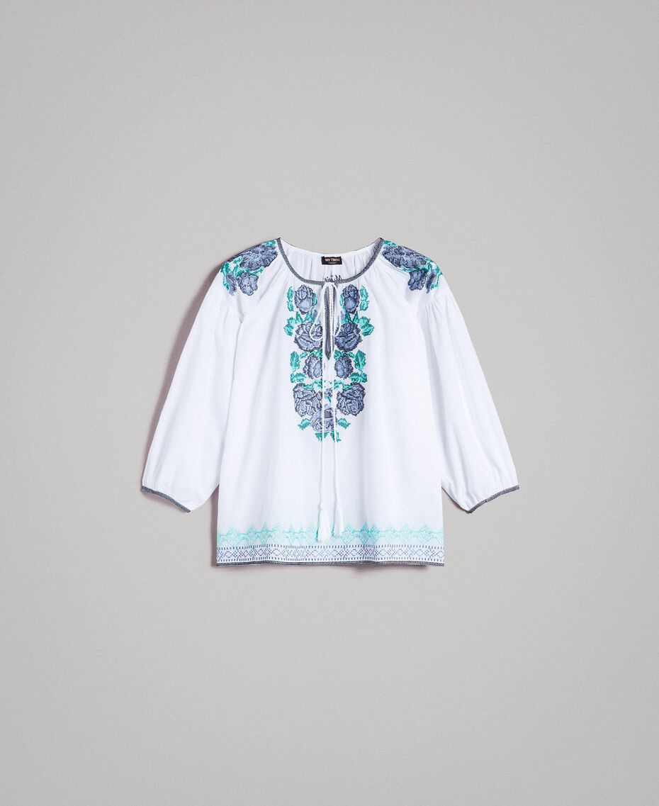 Flounced blouse with cross stitch embroideries White Woman 191MT2062-0S