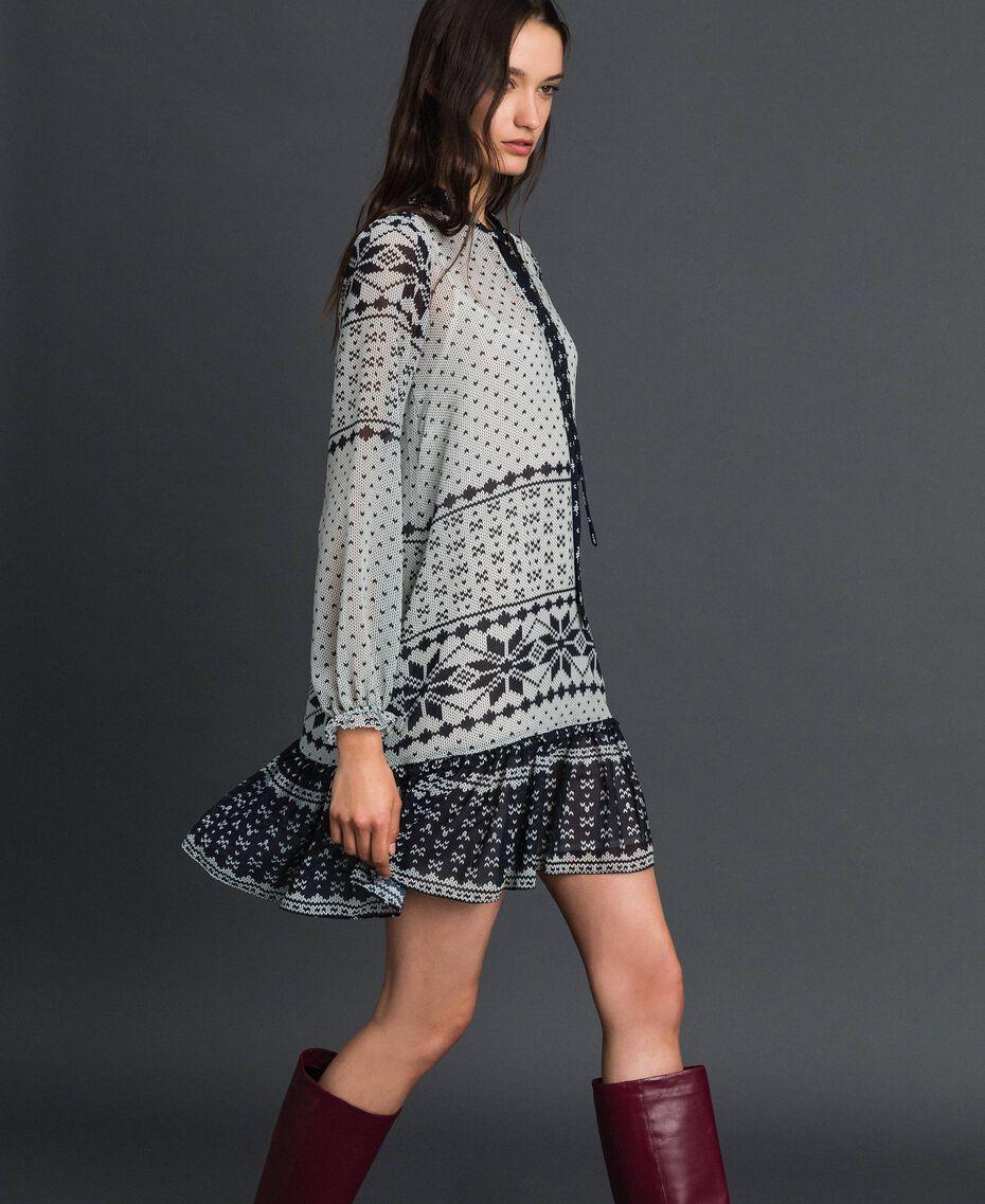 """Kleid aus bedrucktem Georgette Printmix """"Air de Neige"""" Schwarz und Vanille Frau 192MT2392-02"""