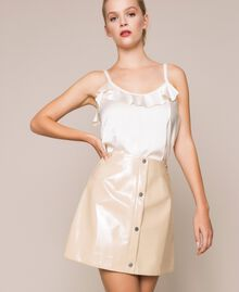 Glossy faux leather mini skirt Vanilla White Woman 201MP2240-01