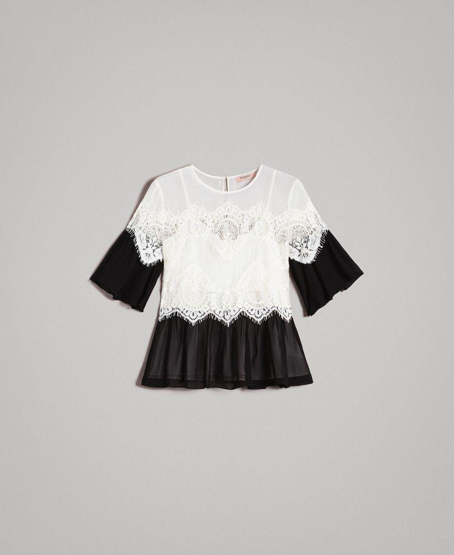 Georgette-Bluse mit Spitze Zweifarbig Schneeweiß / Schwarz Frau 191TT2101-0S