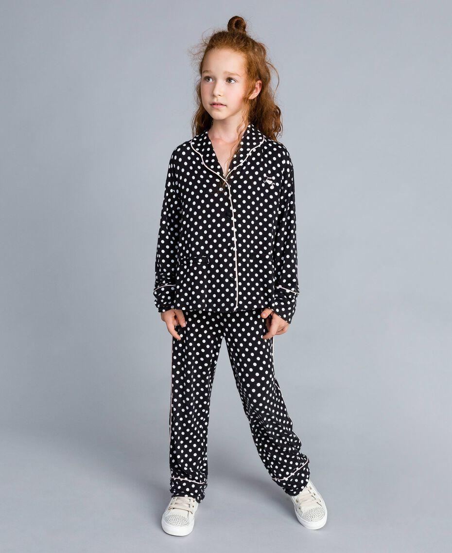Pyjama en viscose à pois Imprimé Pois Noir / Blanc Cassé Enfant GA828A-0S