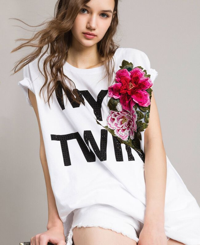 Maxi T-shirt with logo and embroidery White Woman 191MT241E-01