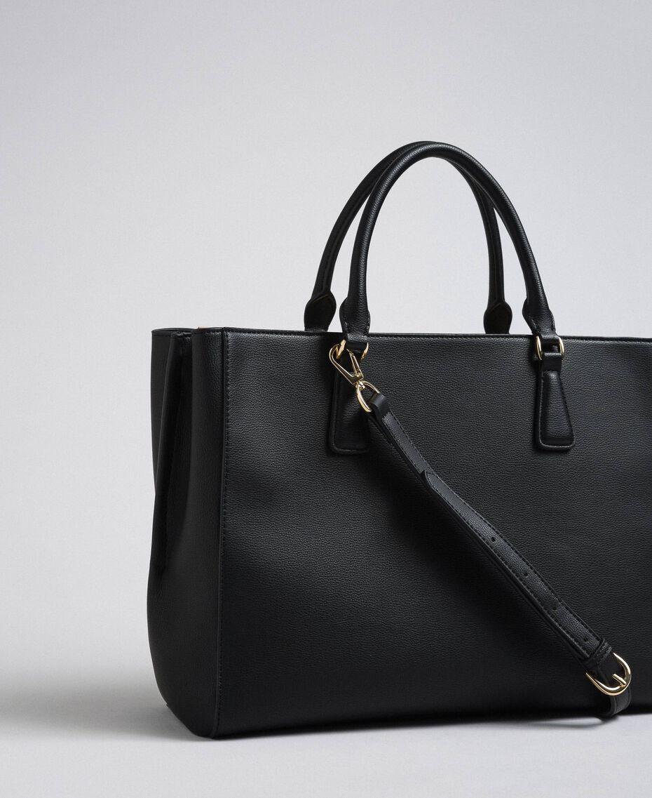 Sac cabas en similicuir avec logo Noir Femme 192TO8050-02