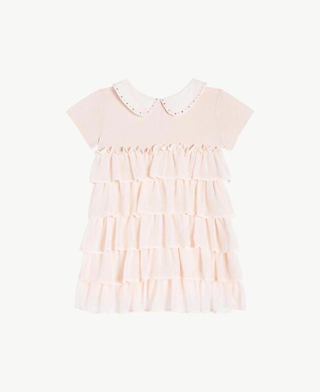 Kleid mit Stickerei Blütenknospenrosa Kind FS82B2-01