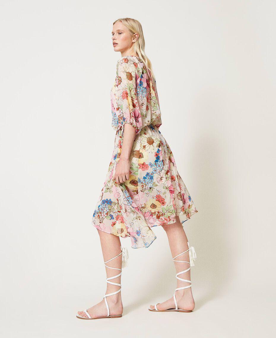 "Floral print midi dress ""Fuchsia Pink"" Large Floral Print Woman 211LM2JHH-01"