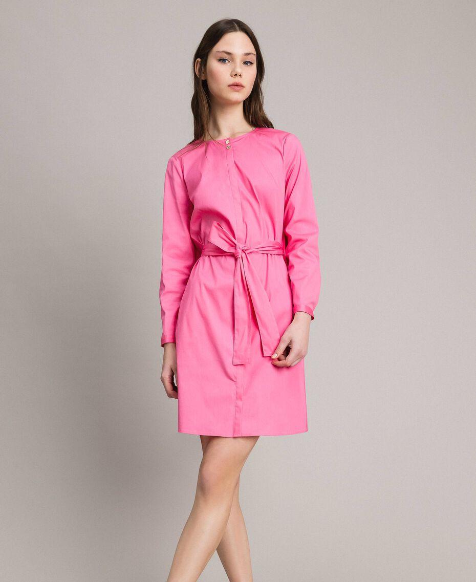 Hemdblusenkleid aus Popeline Rosa Kamelie Frau 191MP2215-03