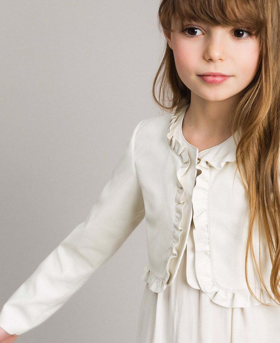 Faux leather cropped jacket Pale Cream Child 191GJ2500-0S