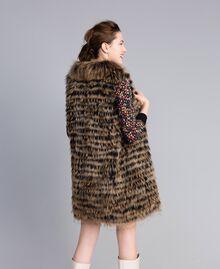 Gilet tricot in pelliccia Bicolor Nero / Camel Donna PA82LD-03