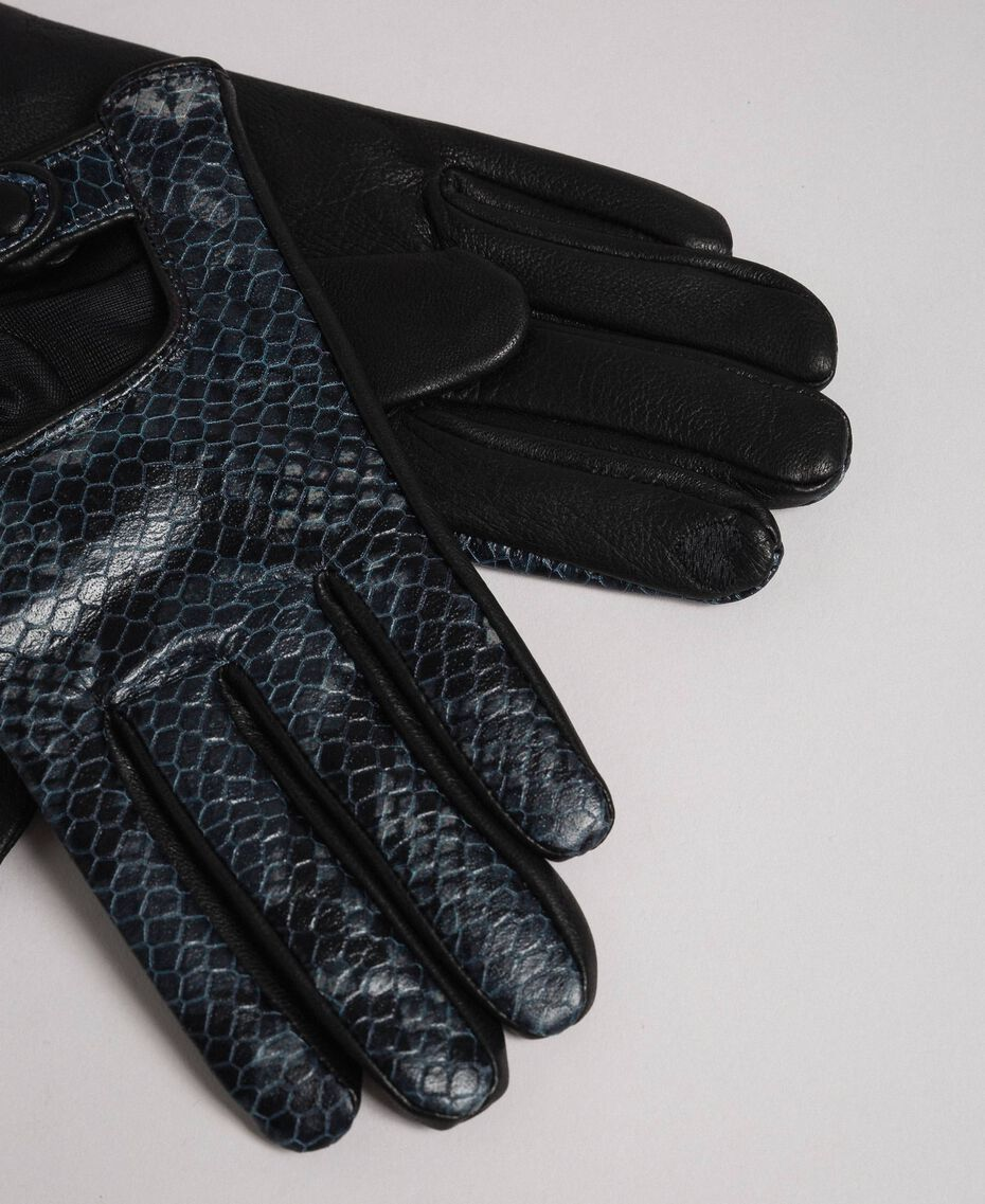 "Leather touch screen gloves with buttons ""Anthracite"" Grey Python Print Woman 192TO536C-02"