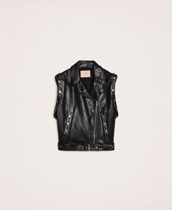 Faux leather biker waistcoat with studs