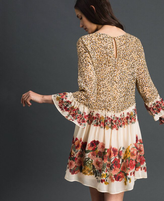 Dress with floral and animal print Leopard Print Woman 192TP2741-03