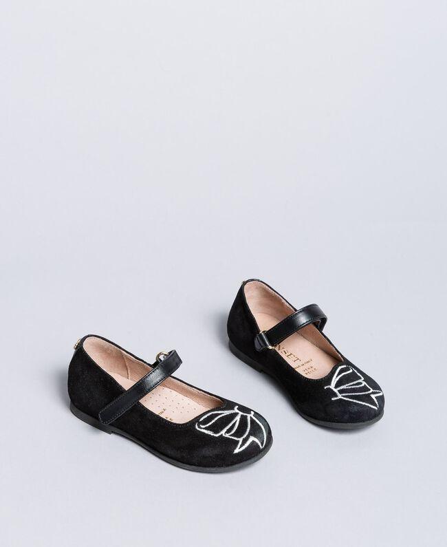 Замшевые туфли-балетки со стразами Черный Pебенок HA86AN-01