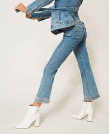Flared jeans with studs Light Denim Woman 202MP2191-03