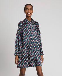 Bedrucktes Hemdblusenkleid mit Gürtel Geometrischer Fuchsprint Frau 192ST2141-05