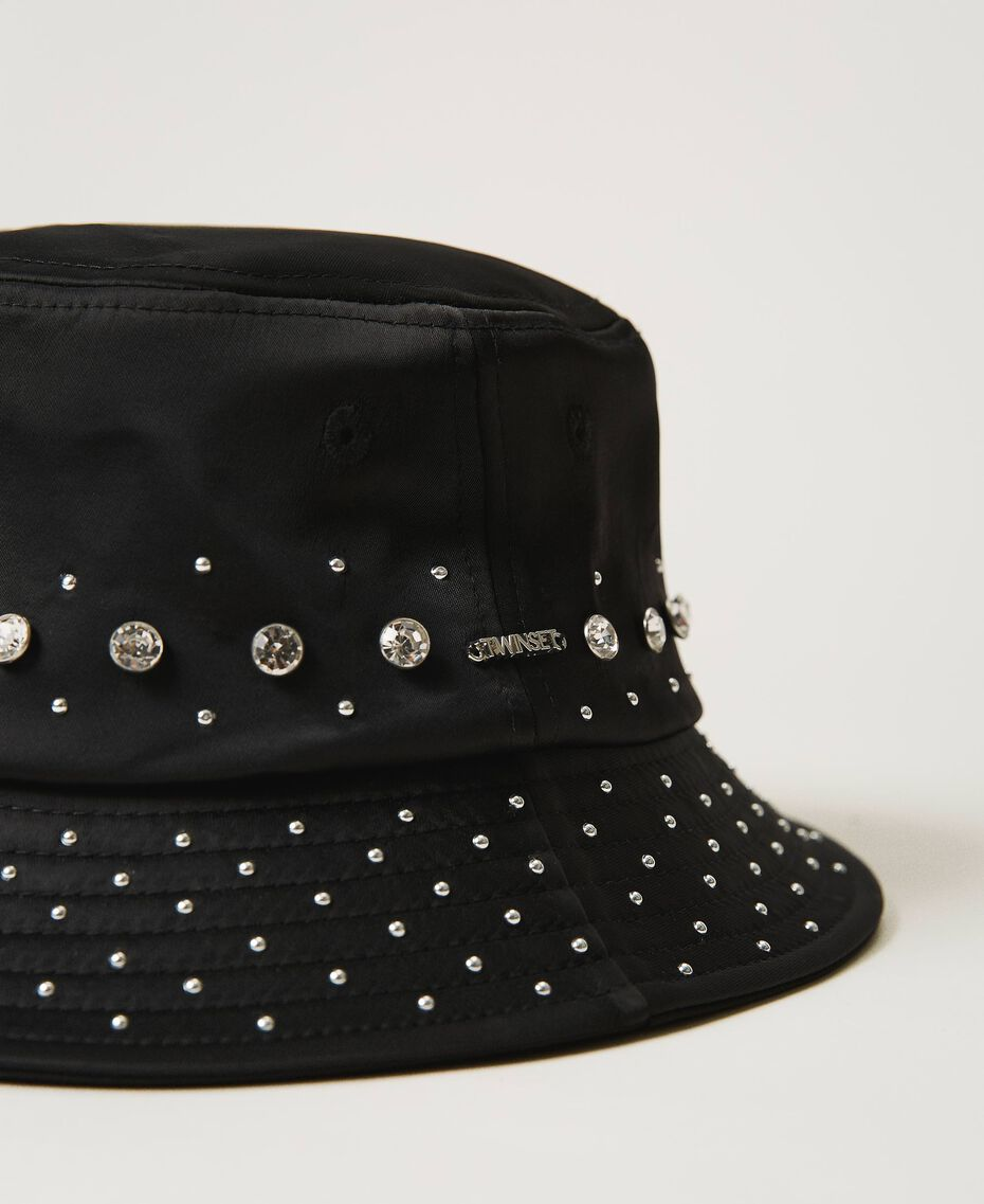 Satin hat with studs and bezels Black Woman 202TA4451-03